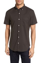 Bonobos Men's Slim Fit Short Sleeve Chambray Sport Shirt Solid Black