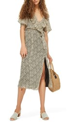 Topshop Floral Angel Sleeve Dress Beige Multi