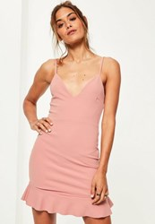 Missguided Pink Strappy Frill Hem Bodycon Dress