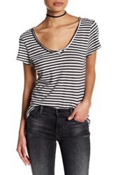 14Th And Union Striped V Neck Tee Petite Gray
