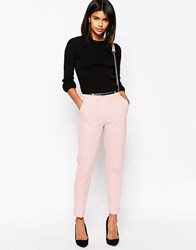 Asos Linen Cigarette Trousers With Belt Pink