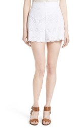 Kate Spade Women's New York Eyelet Embroidered Shorts White