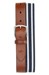 Polo Ralph Lauren Stretch Web And Leather Belt Navy White