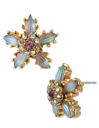 Betsey Johnson Carved Flower Stud Earrings Iridescent White Gold