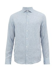 Frescobol Carioca Button Down Linen Shirt Blue