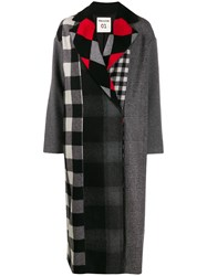 Semicouture Multi Check Coat Grey