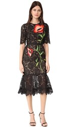 Lela Rose Embroidered Dress Black Multi