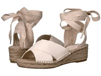 Soludos Crisscross Demi Wedge Ivory Leather Women's Wedge Shoes Gray
