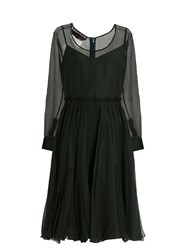 Rochas Sigaline Silk Organza Pleated Waist Dress Green