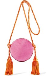 Hillier Bartley Circle Tasseled Leather And Calf Hair Shoulder Bag Pink
