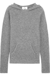 Allude Hooded Waffle Knit Wool And Cashmere Blend Sweater Gray
