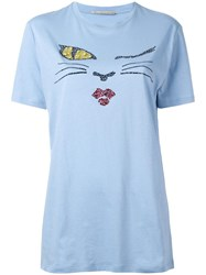 Ermanno Scervino 'Cat Wink' Motif T Shirt Blue