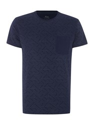 Linea Broadway Spot Print Crew With Contrast Pocket Navy