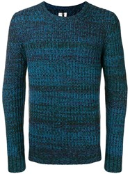 Santoni Chunky Knit Crewneck Sweater Blue