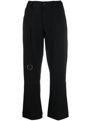 Ann Demeulemeester Cropped Bootcut Trousers Black