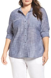 Caslonr Plus Size Women's Caslon Long Sleeve Crinkle Cotton Shirt Navy Crosshatch Pattern