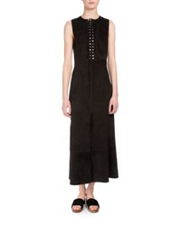 Proenza Schouler Sleeveless Lace Up Suede Dress Black