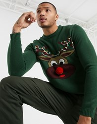 Only And Sons Christmas Reindeer Jumper In Green