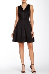 Vince Camuto Front Zipper Fit And Flare Scuba Dress Black