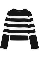 Calvin Klein Collection Striped Stretch Jersey Top Black