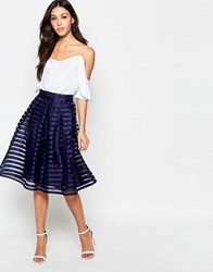 Girls On Film Full Skirt With Mesh Detail Blue