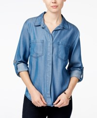 Velvet Heart Riley Roll Tab Sleeve Button Down Shirt Indigo