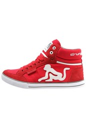 Drunknmunky Boston Classic Hightop Trainers Red Grey