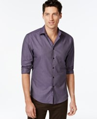 Vince Camuto Purple And Black Textured Print Shirt