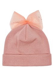 Federica Moretti Pink Bow Embellished Wool Beanie Light Pink