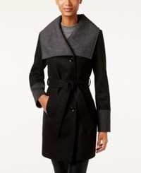 Laundry By Design Asymmetrical Walker Coat Black Grey
