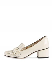 Gucci Marmont Patent Loafer Pump White