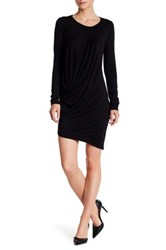 Go Couture Asymmetrical Long Sleeve Dress Black