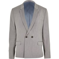 River Island Grey Double Breasted Skinny Suit Jacket