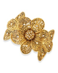 Jose And Maria Barrera Gold Plated Flower Bracelet With Crystals