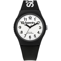 Superdry Unisex Urban Silicone Strap Watch Black White
