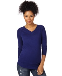 Motherhood Maternity V Neck Ruched Sweater Midnight Blue