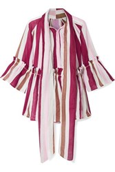 Yvonne S Angelica Ruffled Striped Linen Tunic Burgundy