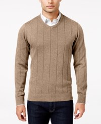 John Ashford Men's V Neck Striped Texture Sweater Only At Macy's Toasted Beige