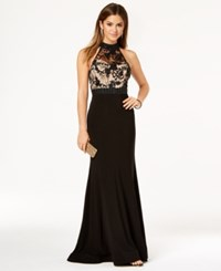 B. Darlin B Juniors' Embellished Lace Bodice Gown Black Nude