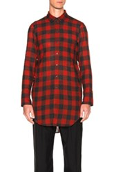 Ann Demeulemeester Plaid Button Down Shirt In Red Black Checkered And Plaid Red Black Checkered And Plaid