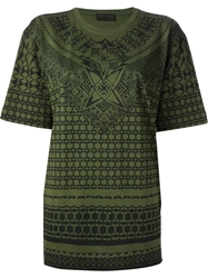 Diesel Black Gold 'Tescin' Printed T Shirt Green