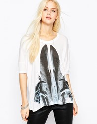Religion Majestic Printed Long Sleeve Top Whiteblueprint