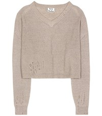 Acne Studios Antje Cotton And Alpaca Blend Sweater Brown