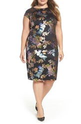 Eci Plus Size Women's Foil Print Sheath Dress Black Multi
