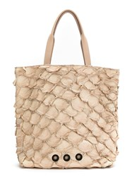 Osklen Pirarucu Leather Tote Nude And Neutrals