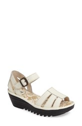 Fly London Women's Rese Wedge Sandal Off White Leather