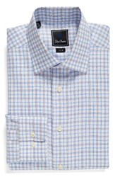 David Donahue Men's Big And Tall Trim Fit Check Dress Shirt White Blue