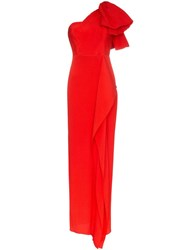 Roland Mouret Belhaven Ruffled Gown Red