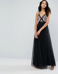 Needle And Thread Prarie Embroidery Tulle Maxi Dress Black