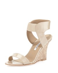 Pepe Patent Leather And Raffia Ankle Wrap Wedge Beige Manolo Blahnik